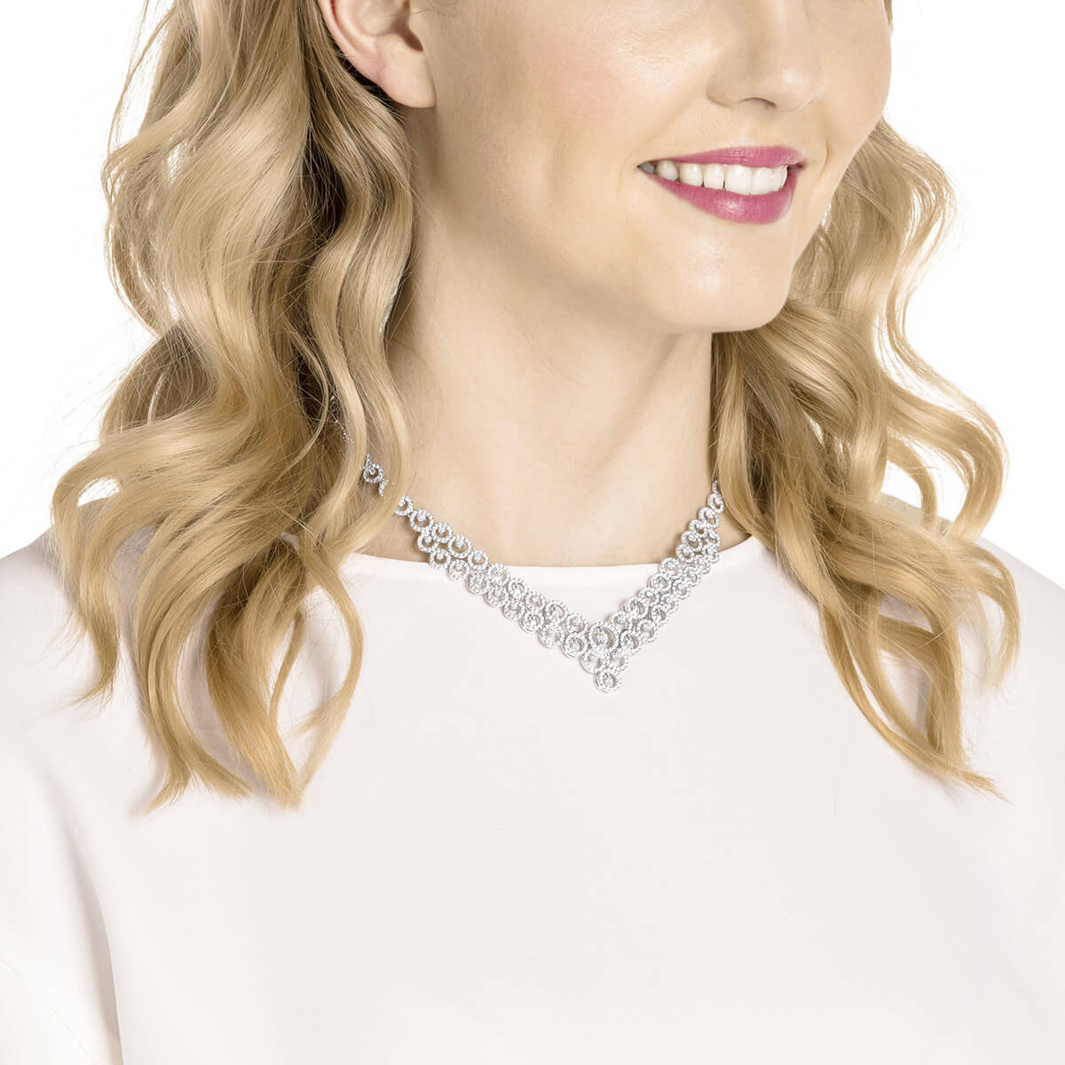Swarovski Necklace Creativity, white, rhodium plating 5423254