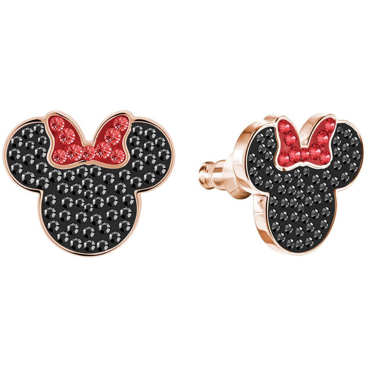 Swarovski Earrings Mickey mouse Minnie, black, pink gold-plated 5446390