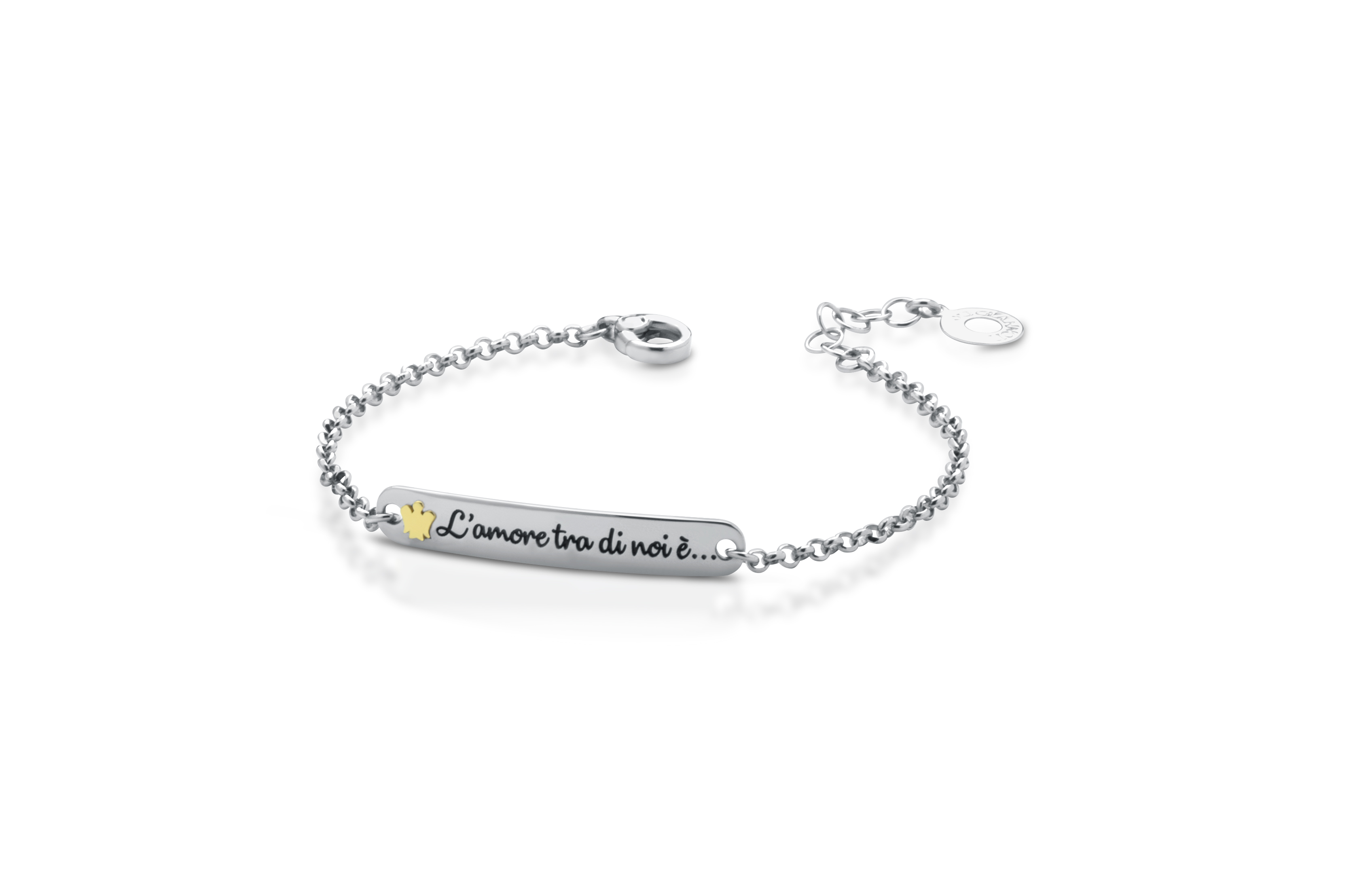 "Roberto Giannotti BRACELET ""TOGETHER"" MOM SILVER ANGEL YELLOW GOLD GIA347"
