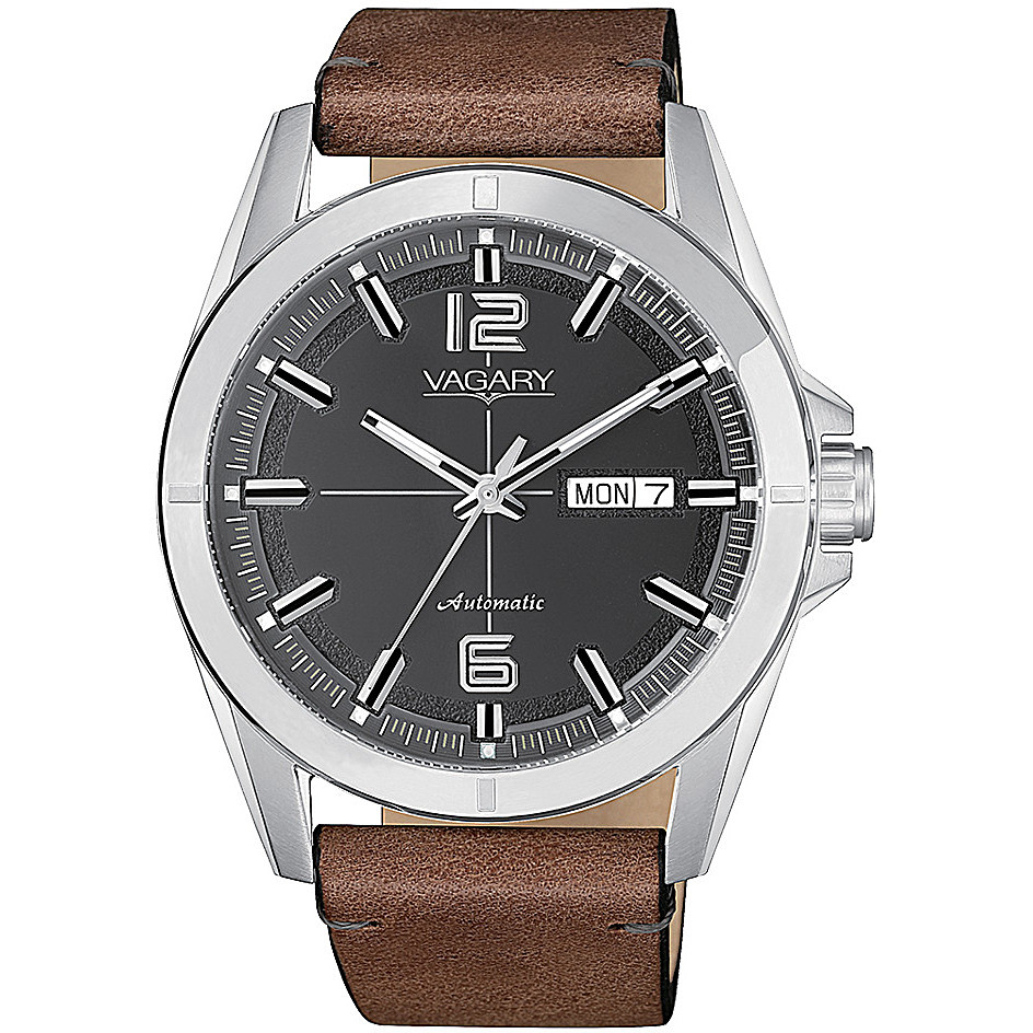 Vagary mens watch g.matic 101 leather strap oblo transparent IX3-017-60