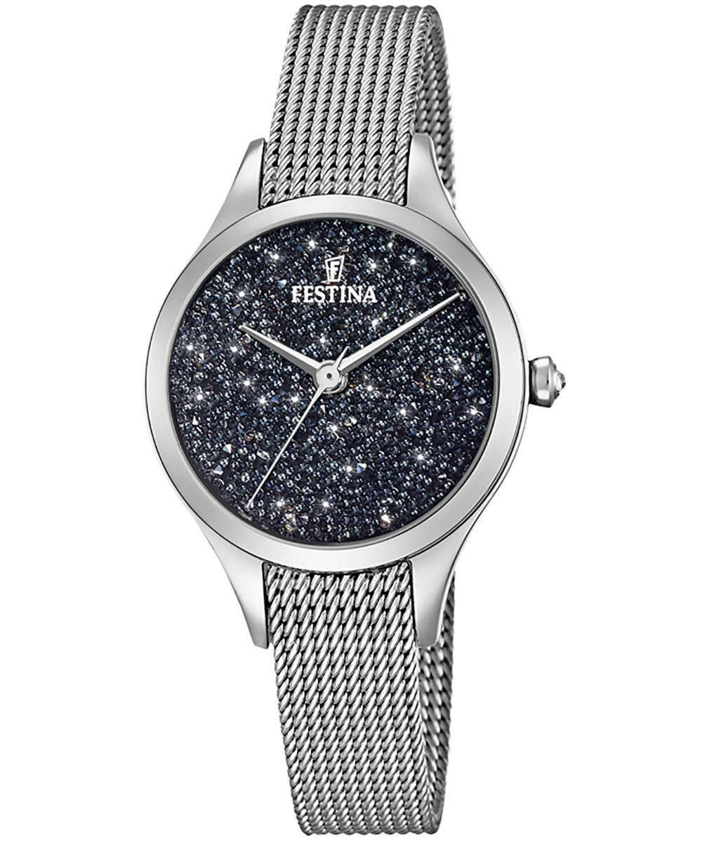 Festina watch women's steel mesh milano swarovski crystals in the dial F20336/3