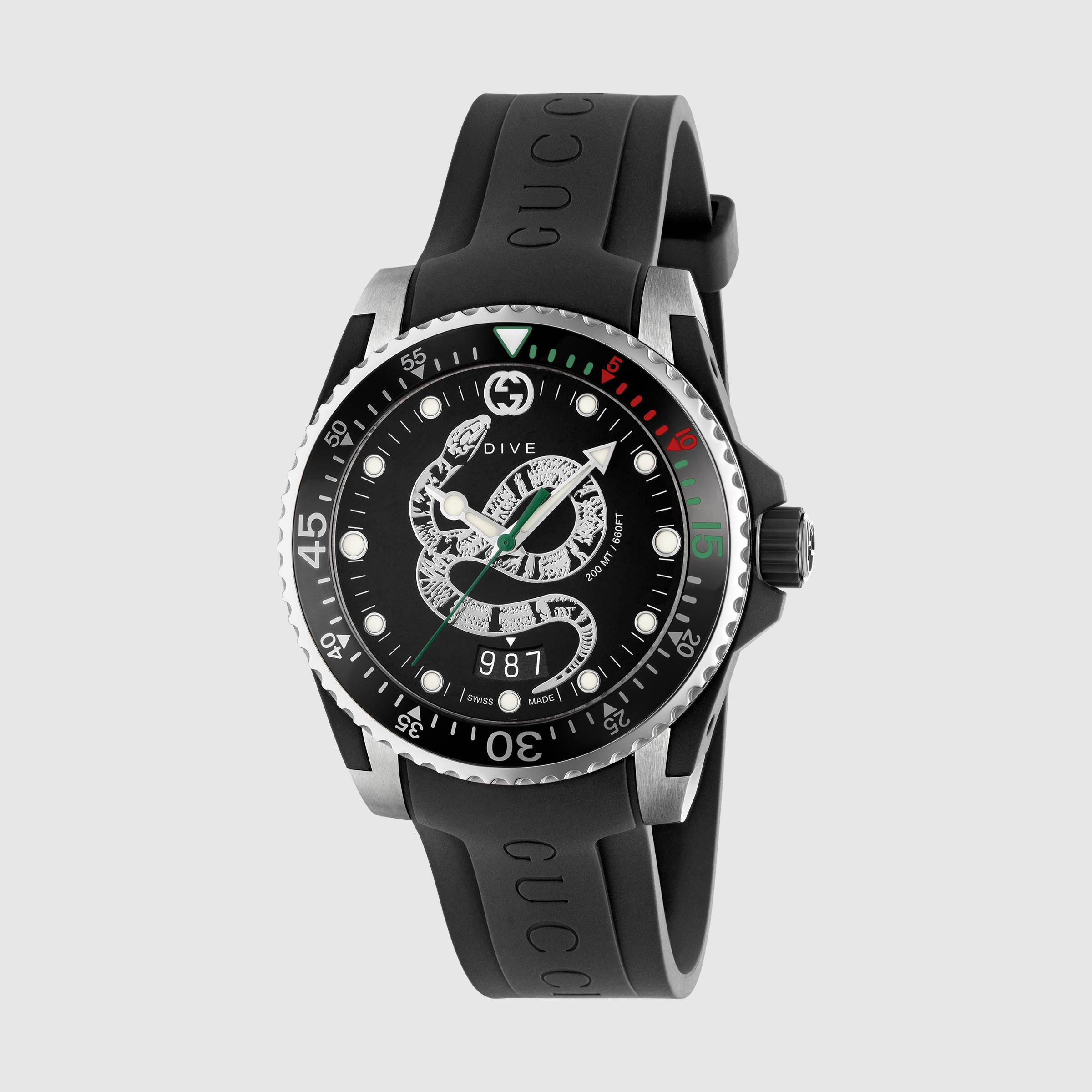 Gucci watch men dive 45 mm case cciaio strap rubber YA136217