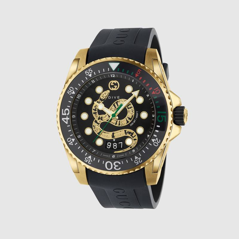 Gucci watch dive 45 mm, case steel-gold color strap rubber YA136219