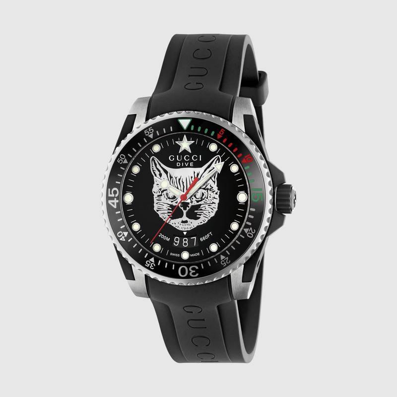 Gucci watch dive 40 mm case steel, strap rubber YA136320