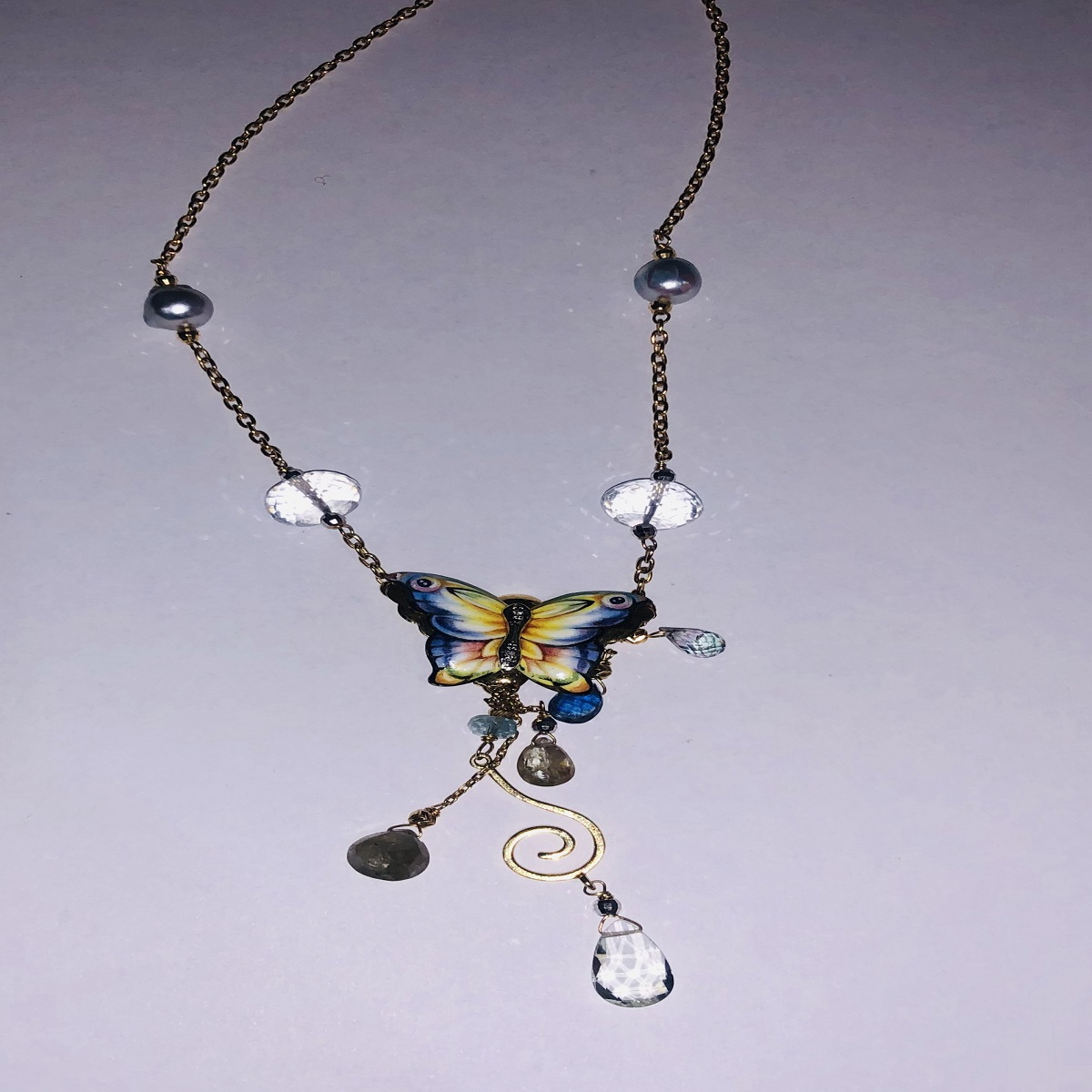 Gabriella Rivalta NECKLACE GOLD WITH light BLUE BUTTERFLY AND PEARLS GAR/FARF