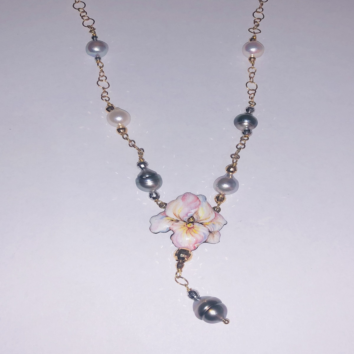 Gabriella Rivalta NECKLACE YELLOW GOLD WITH PINK AND WHITE PEARLS AND GREY GFR/IRIS