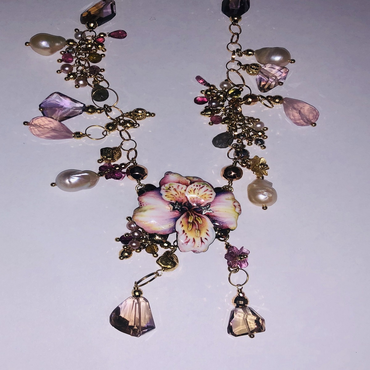 Gabriella Rivalta crew neck YELLOW GOLD WITH ORCHID AND STONES CF/HELI