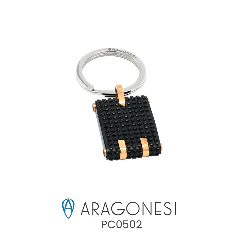 The aragonese BOULE Keychain in stainless steel with inserts of rose PC0502
