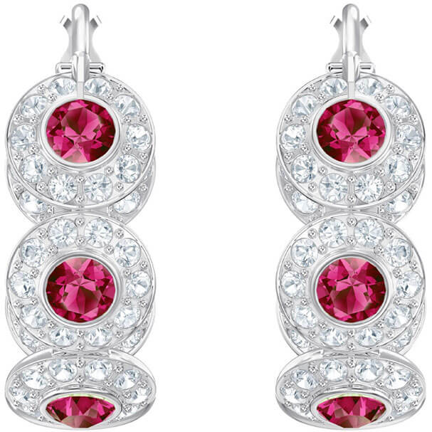 Swarovski hoop Earrings, Angelic, red, rhodium plating 5445998