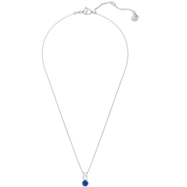 Swarovski Pendant Attract Trilogy Round, blue, rhodium plating 5416156