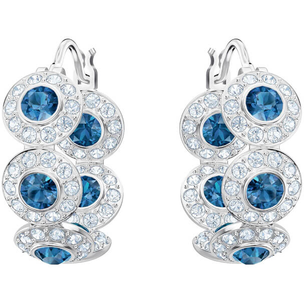 Swarovski hoop Earrings, Angelic, blue, rhodium plating 5418270