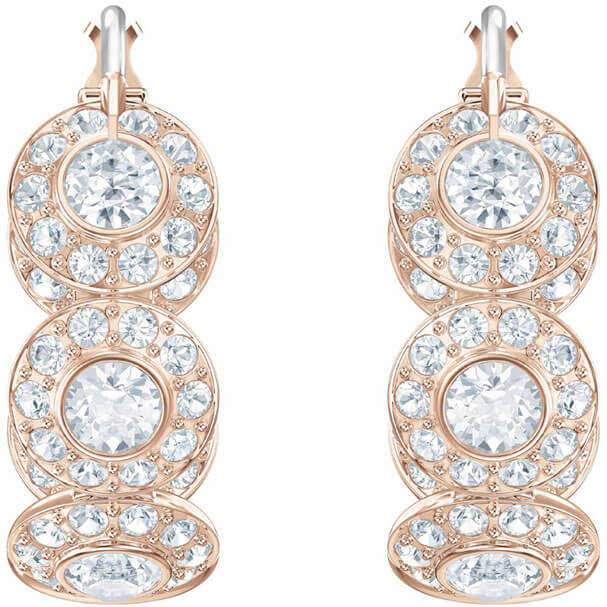Swarovski hoop Earrings, Angelic, white, pink gold-plated 5418271