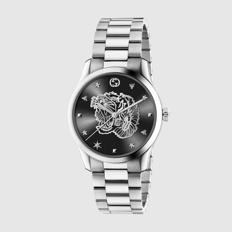 Gucci mens watch g timless steel tiger in dial YA1264125