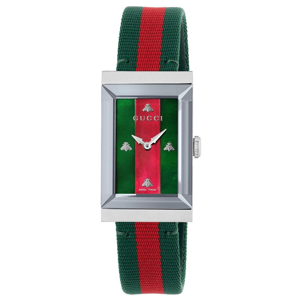 Gucci watch women's g-frame 21x34 mm steel fabric green red YA147404