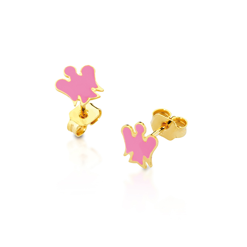 Giannotti earrings in gold 9kt with sangelo and pink enamel NKT209