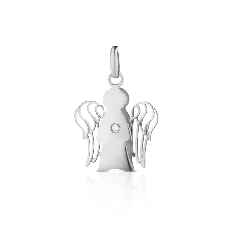 "Gianotti PENDANT ANGEL ""SMALL"" IN WHITE GOLD WITH DIAMOND PZ644B"