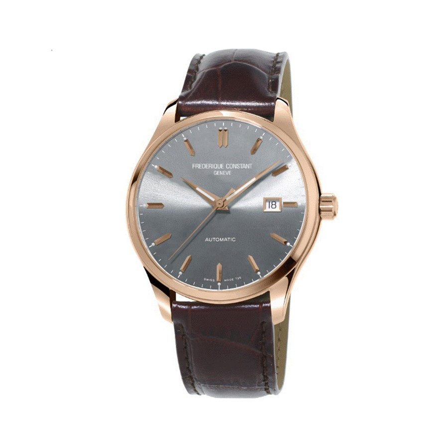 Frederique constant mens watch leather strap steel case FC-303LGR5B6