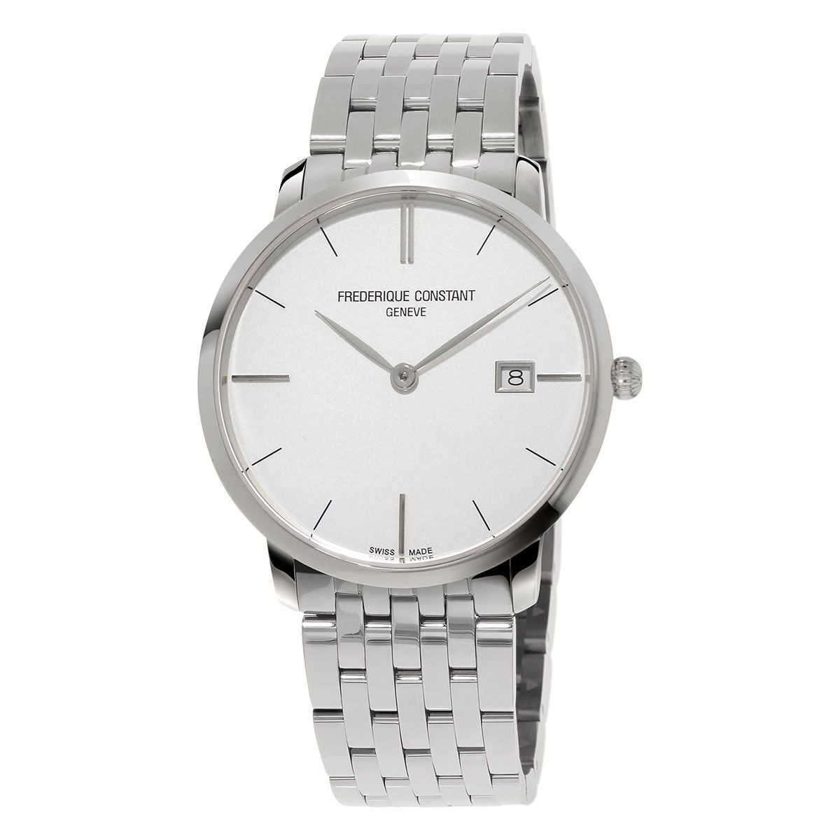 Frederiqu Constant mens watch stainless steel slimline white dial FC-220S5S6B