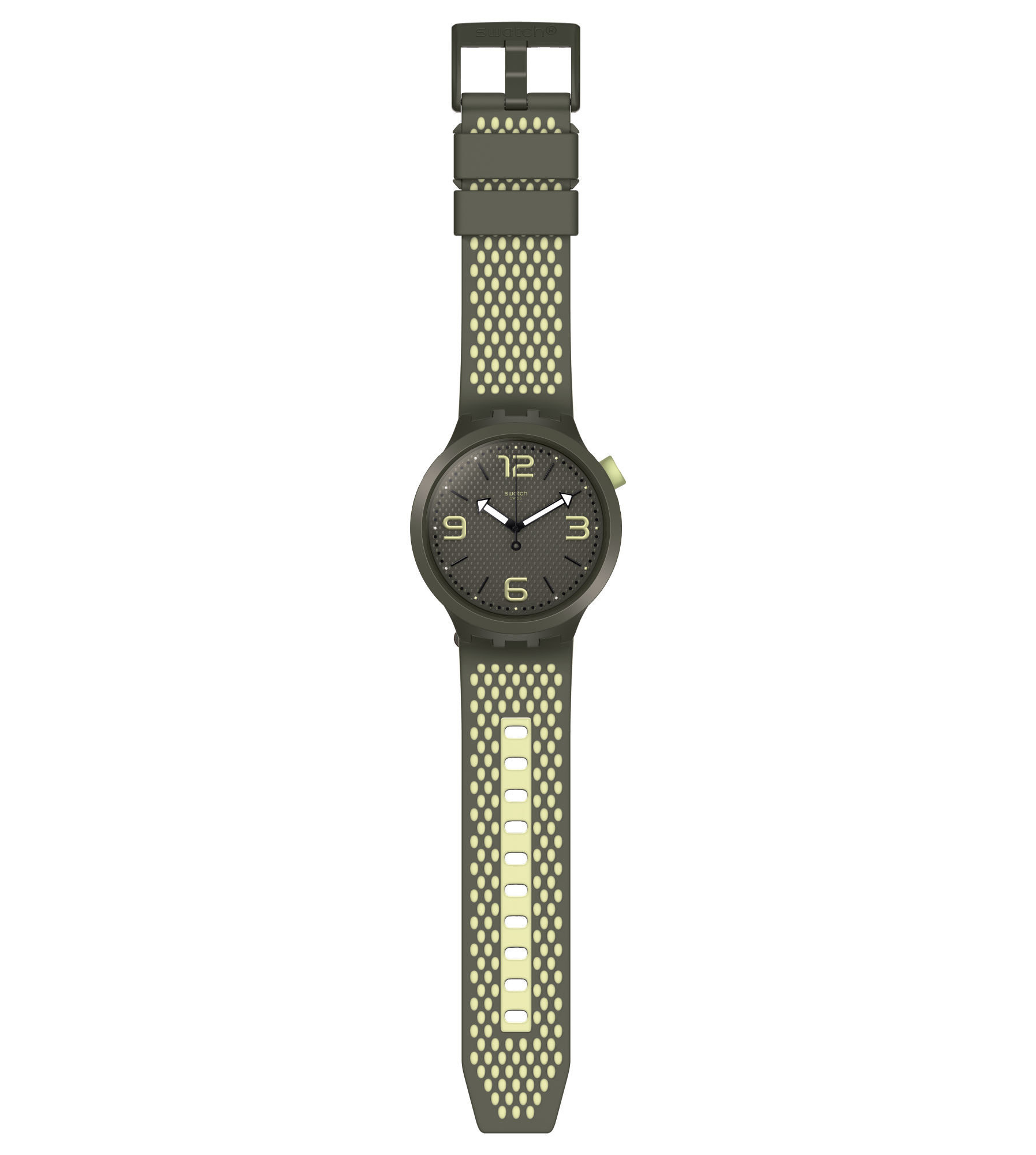 Swatch mens watch big bold hunter green and yellow BBBLANCO SO27M102