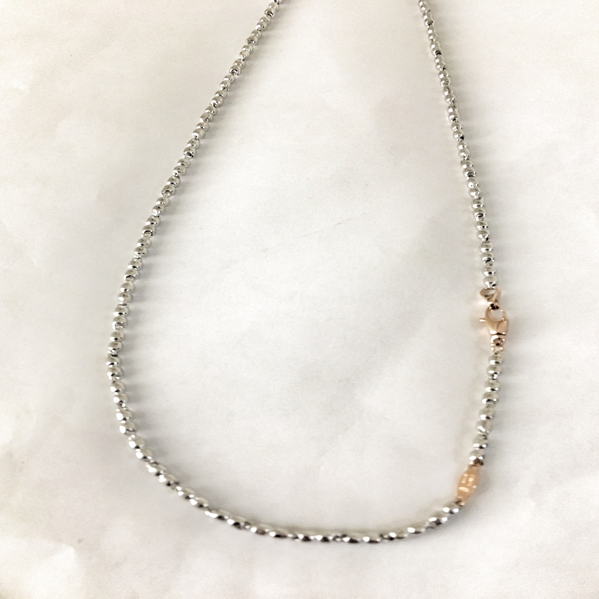ZANCAN NECKLACE IN WHITE GOLD WITH CLOSURE ROSE GOLD EC507BR