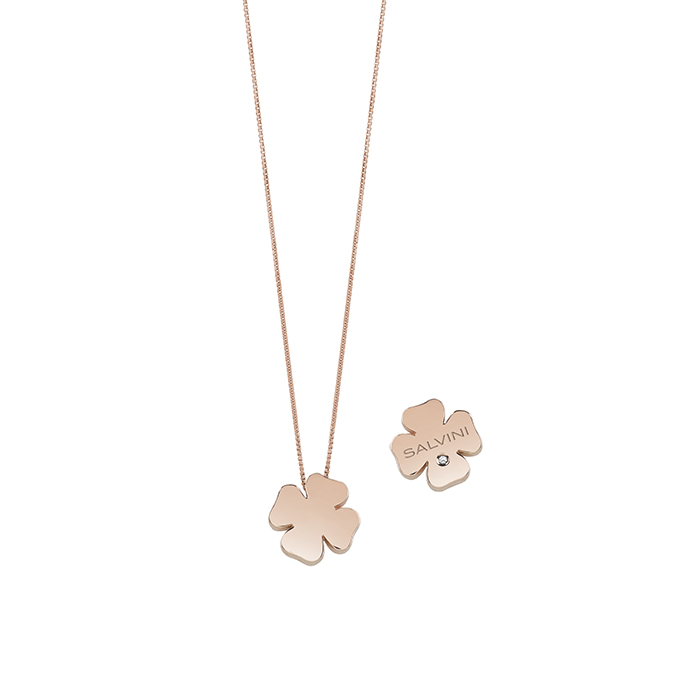 SALVINI NECKLACE ROSE GOLD FOUR-LEAF CLOVER WITH DIAMOND 20081103