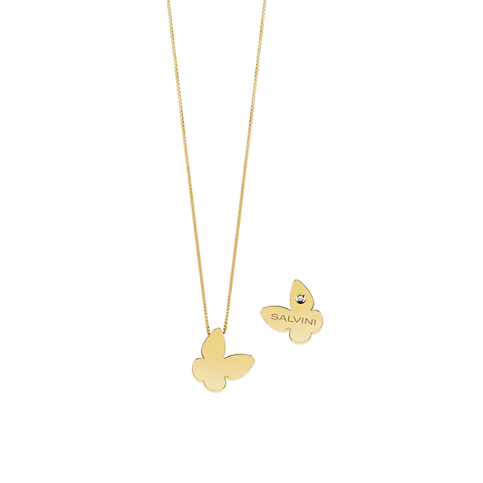 SALVINI COLLIERINO YELLOW GOLD WITH BUTTERFLY WITH DIAMNTE 20081106