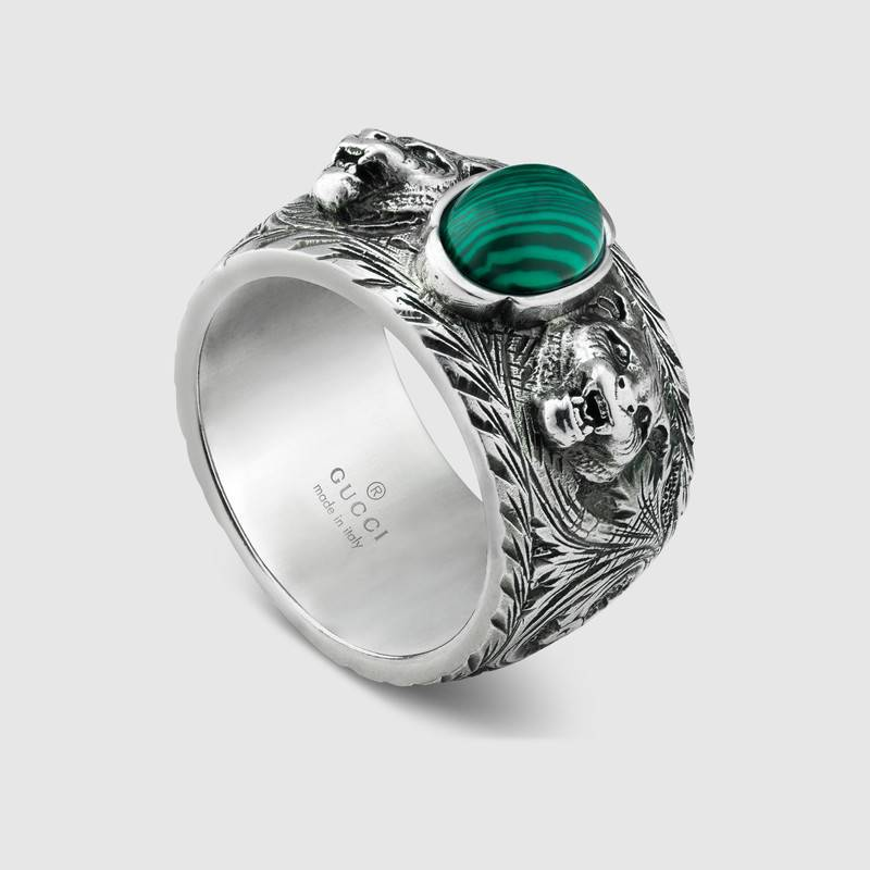 GUCCI Ring Garden in antique silver measures 25 resin green YBC461991001025