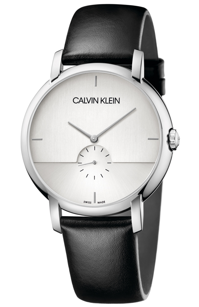 CALVIN KLAIN man Watch steel case black leather strap K9H2X1C6