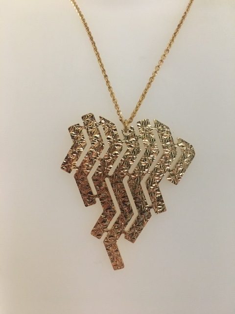Rebecca Necklace bronze plated in yellow gold with 7 fringes BSLKBO41