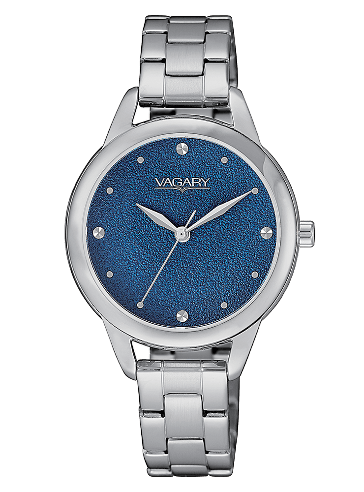 VAGARY Watch woman steel blue dial glitter effect IK9-018-71