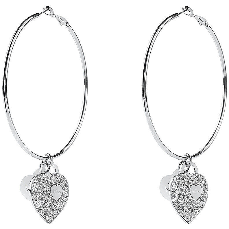 Bliss hoop Earrings Bronze Silver heart symbol 20081454
