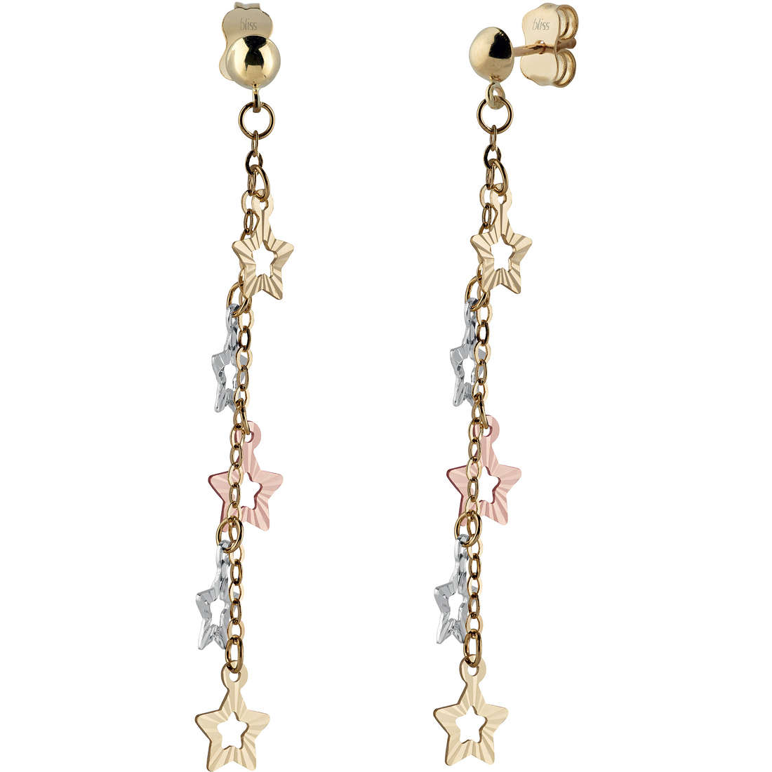 Bliss Earrings Mon Amour gold three-colour 18 kt star symbol in the Ref.20073598