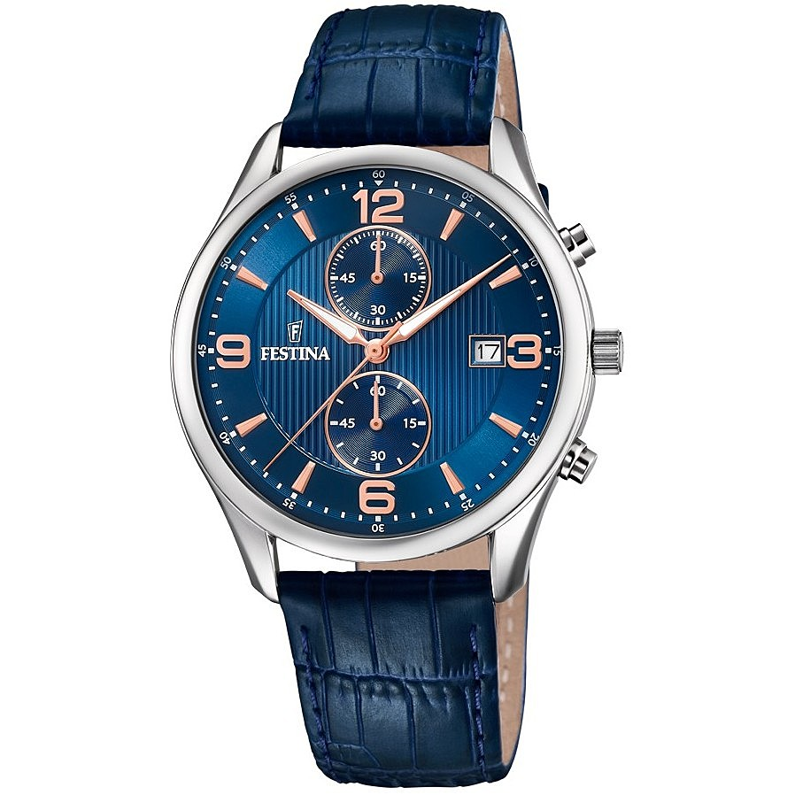 FESTINA chronograph watch men's Timeless Chronograph Cint. Blue leather F6855/6