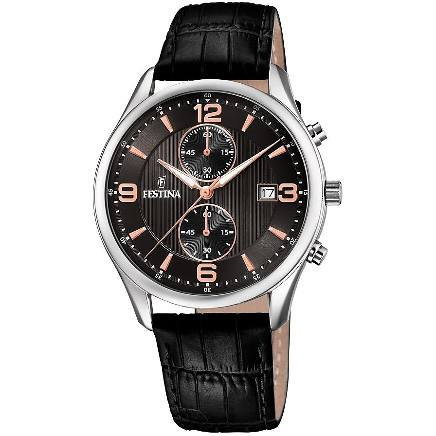 FESTINA chronograph watch men's Timeless Chronograph Cint. Black leather F6855/7