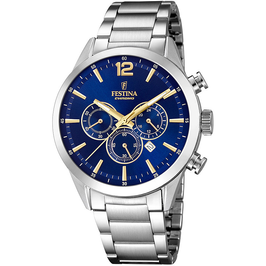 FESTINA Chronograph Watch Men Timeless 43 mm blue dial F20343/2
