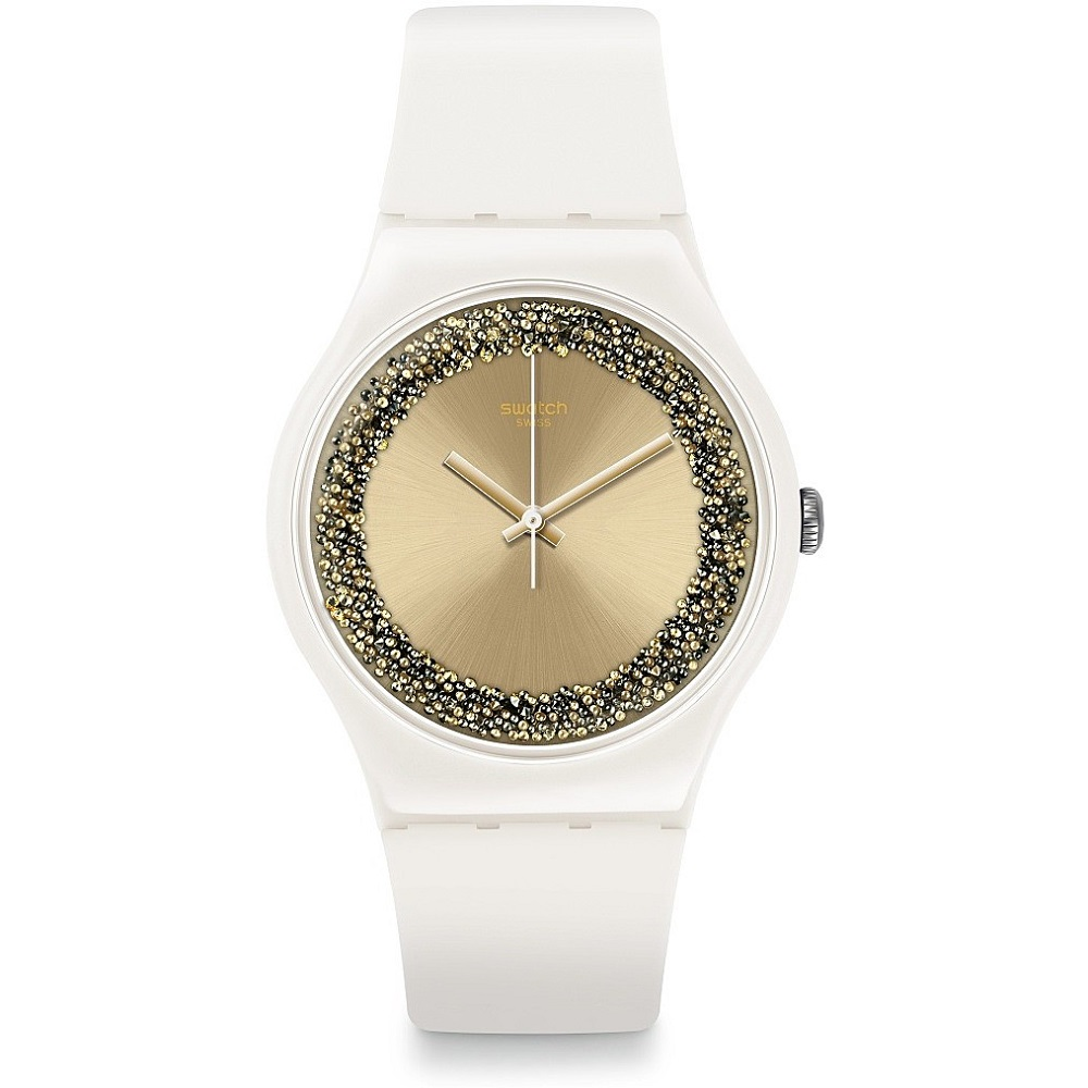 SWATCH WATCH WOMAN TOTAL WHITE WITH SWAROVSKI CRYSTALS SUOW168