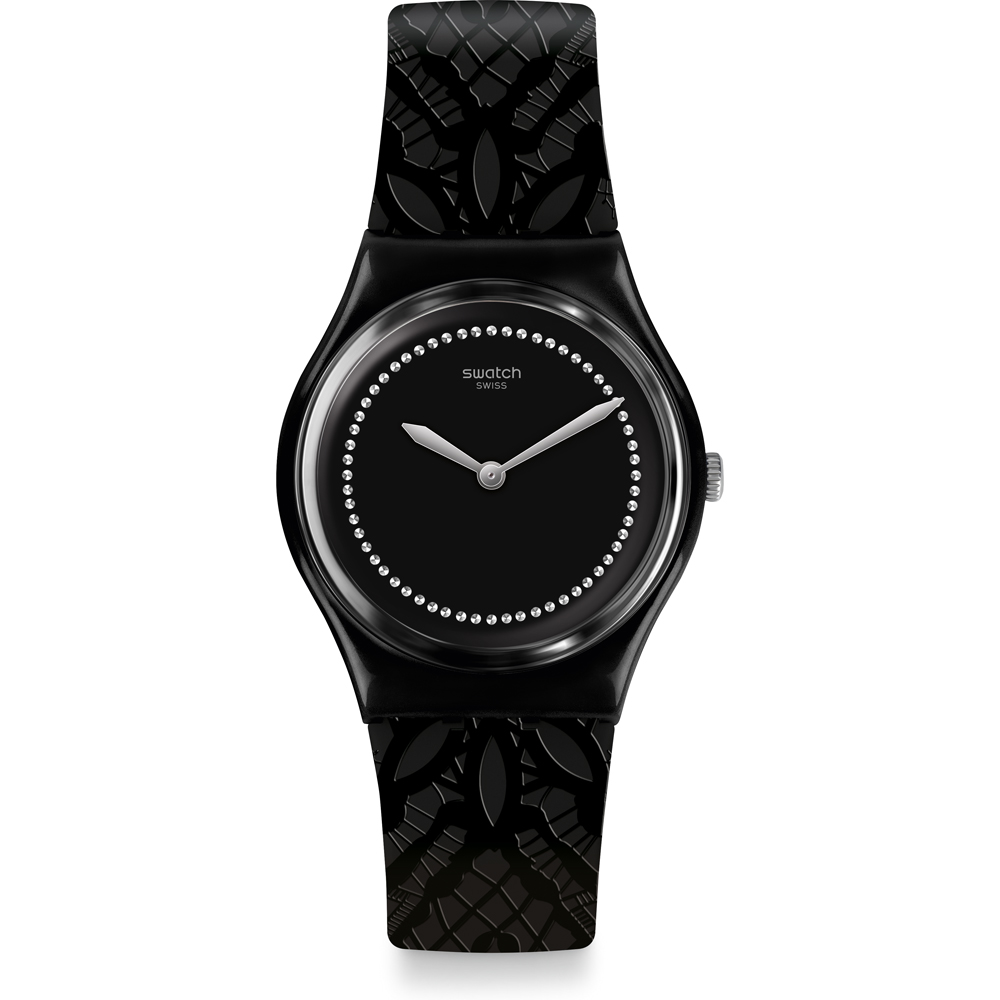 SWATCH MENS WATCH ALL BLACK GOTHIC CHIC DENTELLE GB320