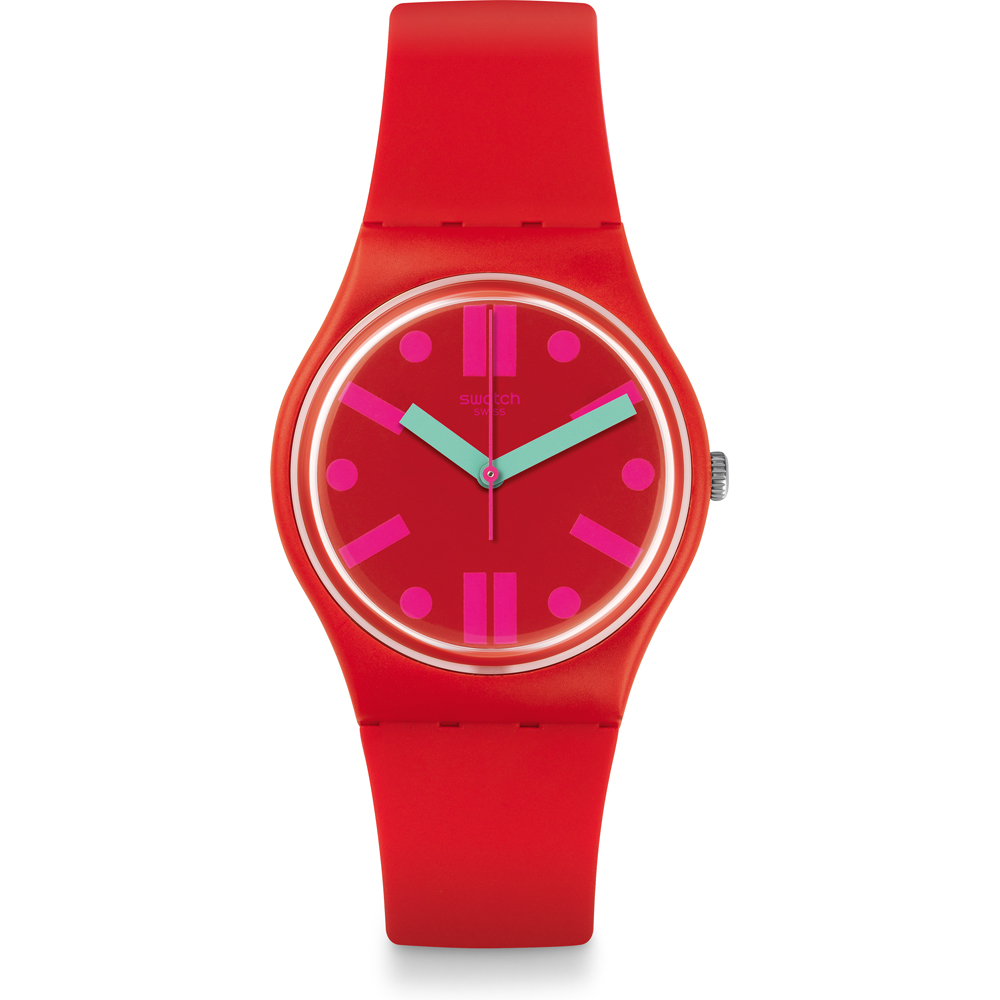 SWATCH OROLOLOGIO ONLY TIME A WOMAN IN RED, WITH INDEXES ROSE GR170