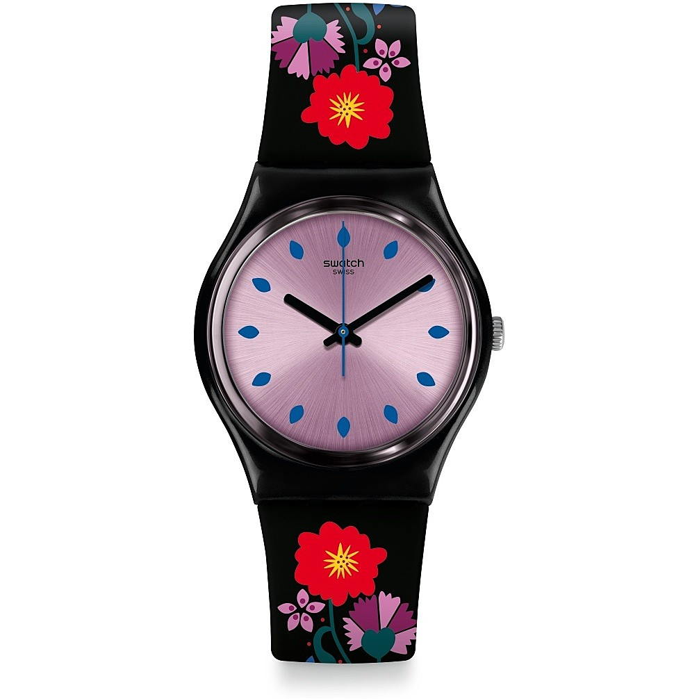 SWATCH WATCH ONLY TIME WOMAN STRAP BLACK FLOWERS GB319