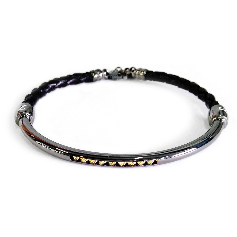 ZANCAN Bracelet in leather and silver ESB037-GI