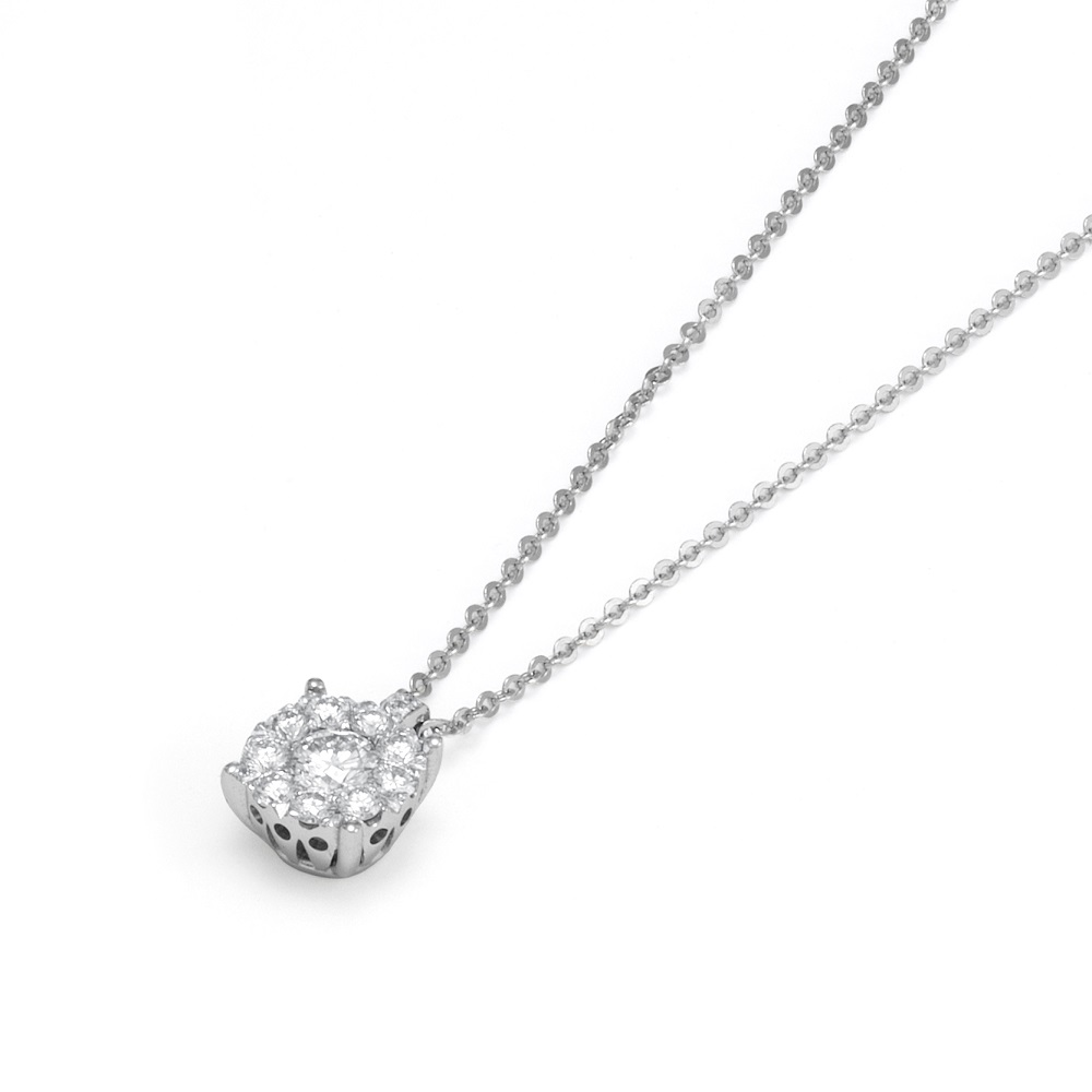 Ponte Vecchio Necklace point light in white gold with diamonds ct 0,30 Ref.CP840-30W