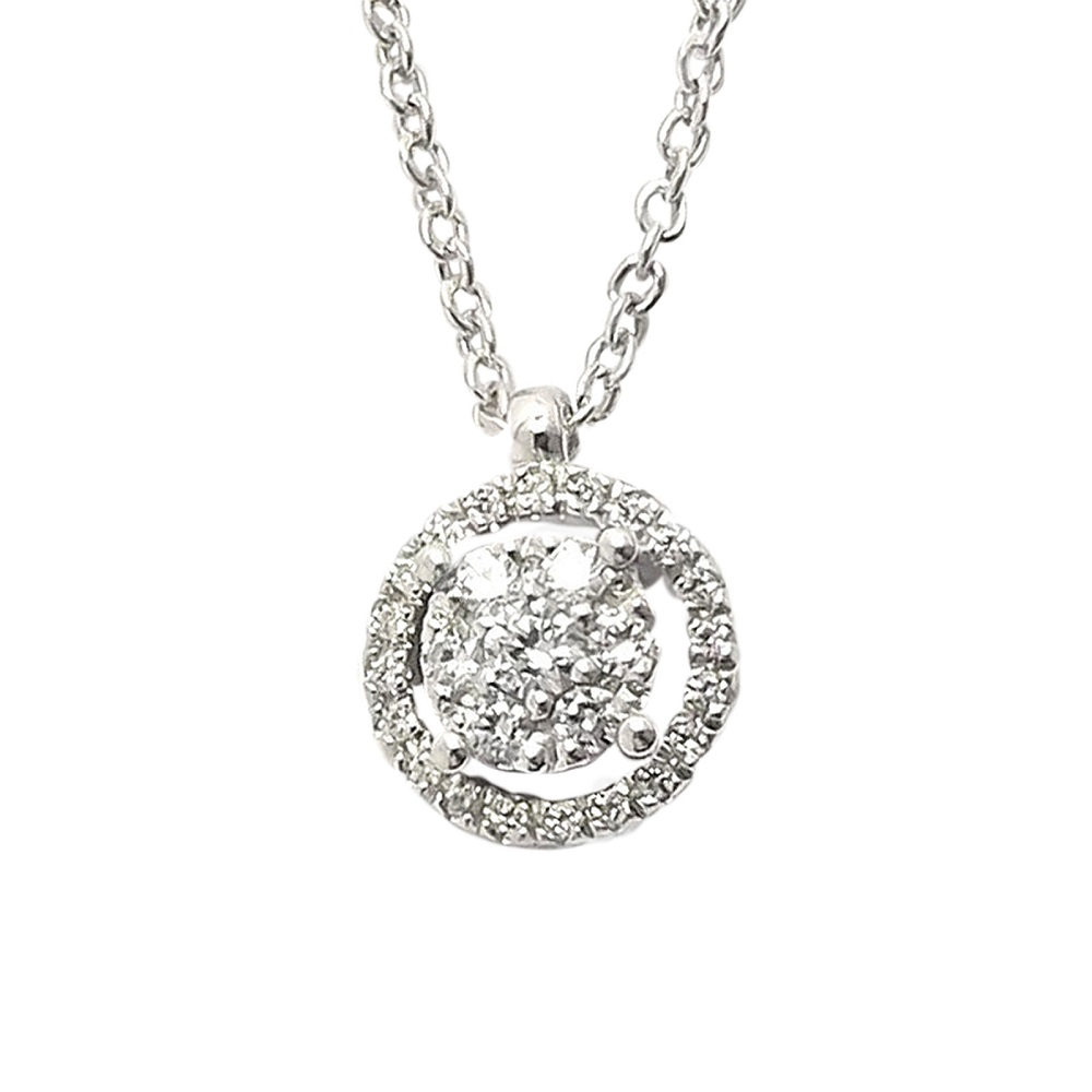 Ponte Vecchio Necklace in white gold with pendant in gold and diamonds ct 0.15 CP859BRW