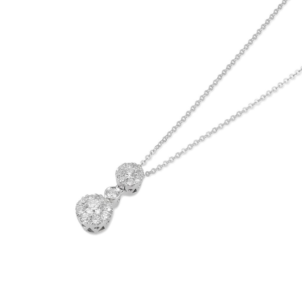 Ponte Vecchio Necklace in white gold with pendant in gold and diamonds ct 0.46 CP884-45W