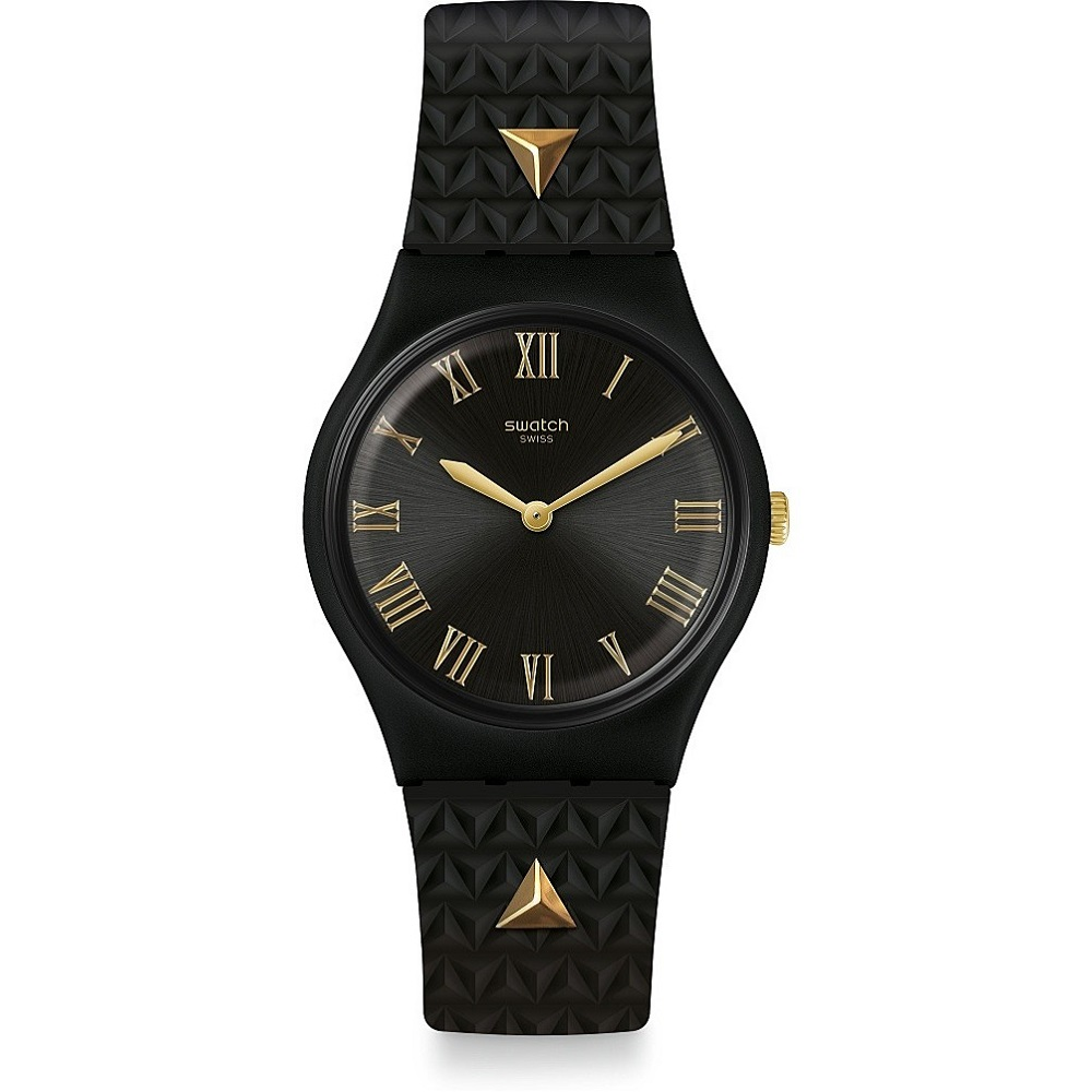 SWATCH WATCH BLACK MAN WITH STUDS IN GOLD COLOR GB324