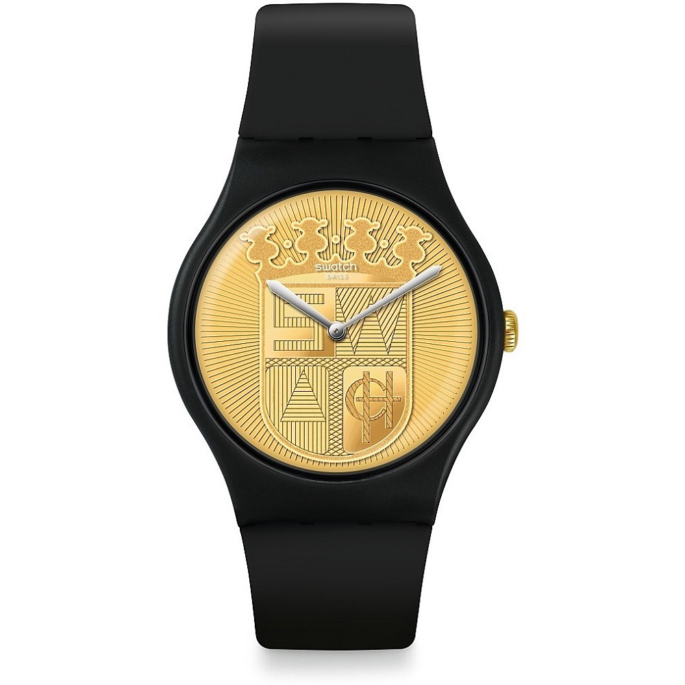 SWATCH MENS WATCH BLACK DIAL GOLD COLOR SUOB170