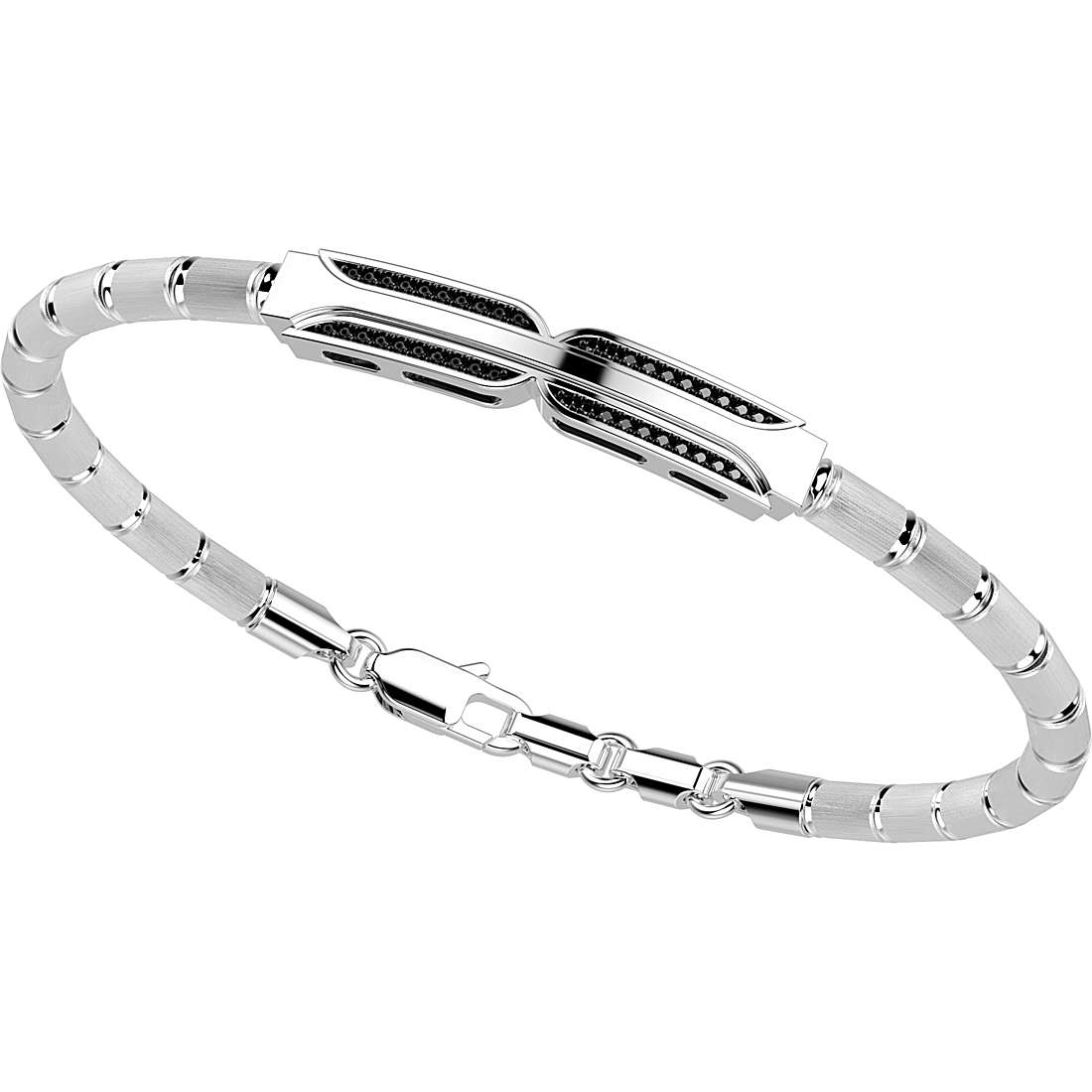 ZANCAN Bracelet semi-rigid silver and spinelli black REF. EXB604-B