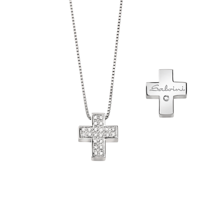 SALVINI white gold Necklace with cross with diamonds ct 0,13 20067605