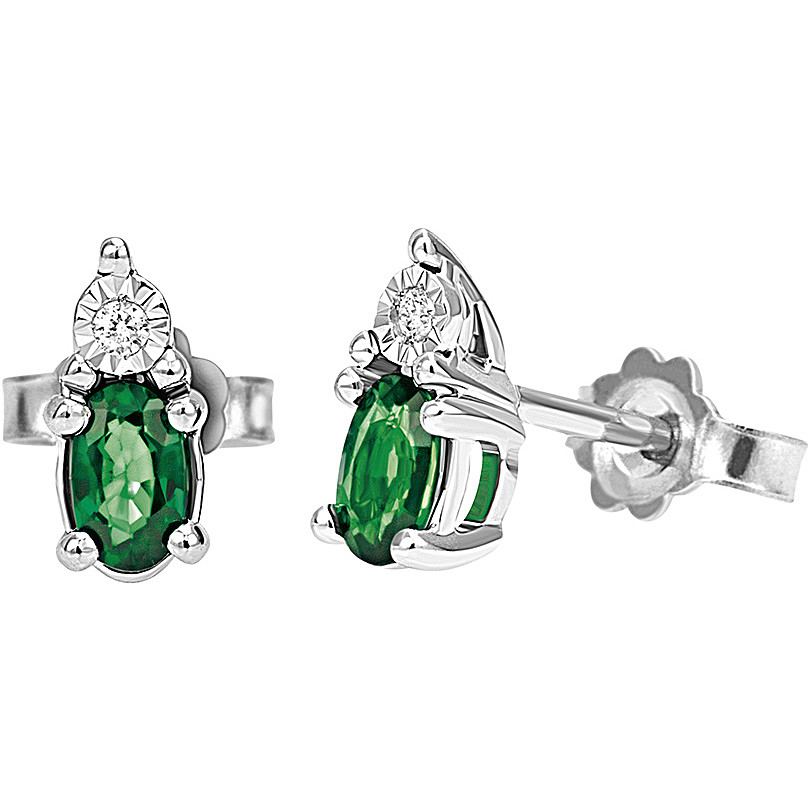 Bliss Earrings in white gold with diamonds and emeralds 20080546