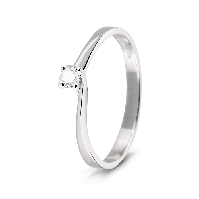 Bliss solitaire Ring in white gold with diamonds ct 0,04 20060612