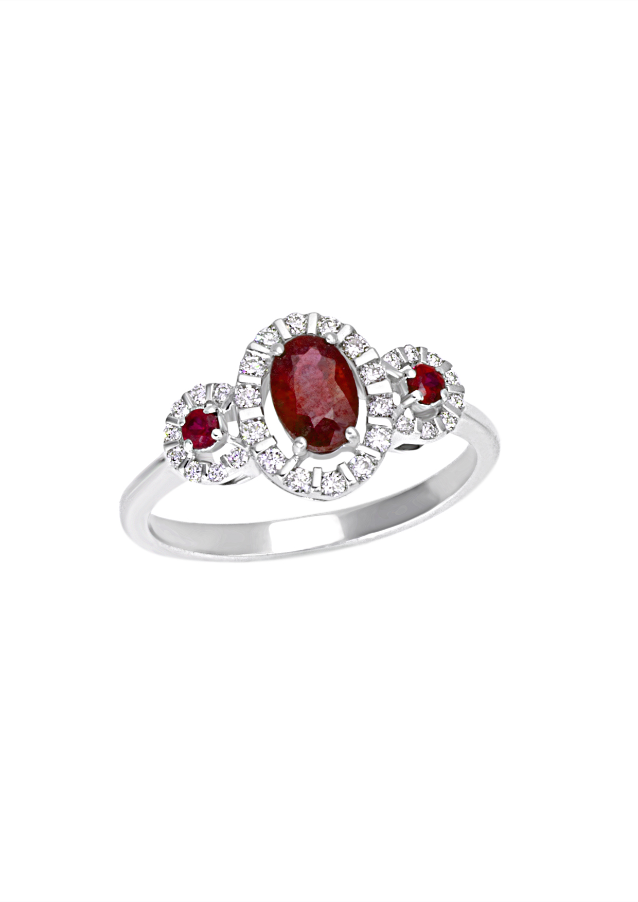Bliss Ring Elenoire white gold with diamonds and rubies 20069528
